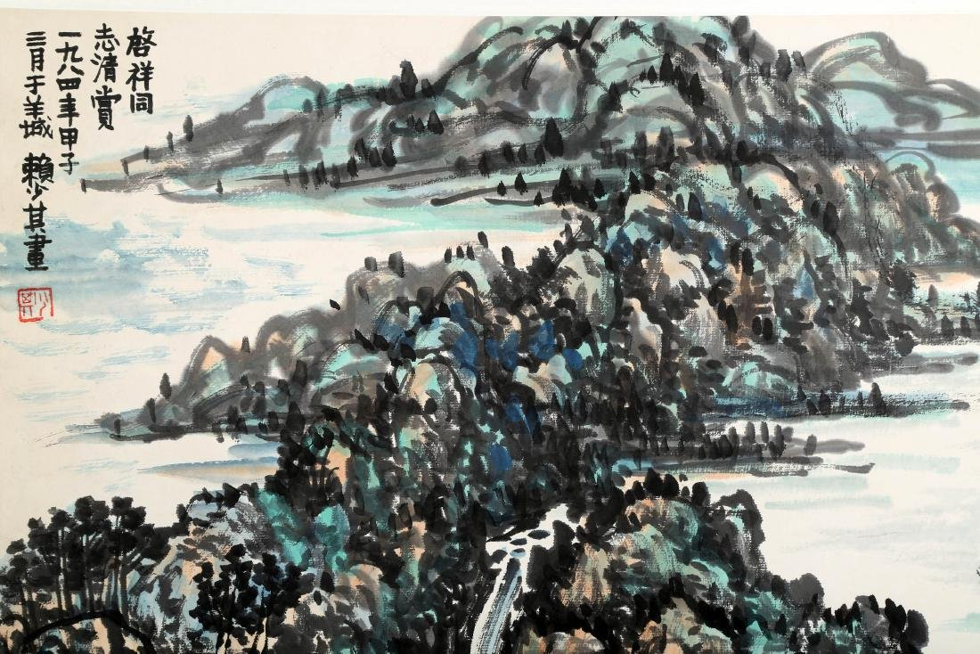 SIGNED LAI SHAOQI (1911-2000). A INK AND COLOR ON PAPER - 5
