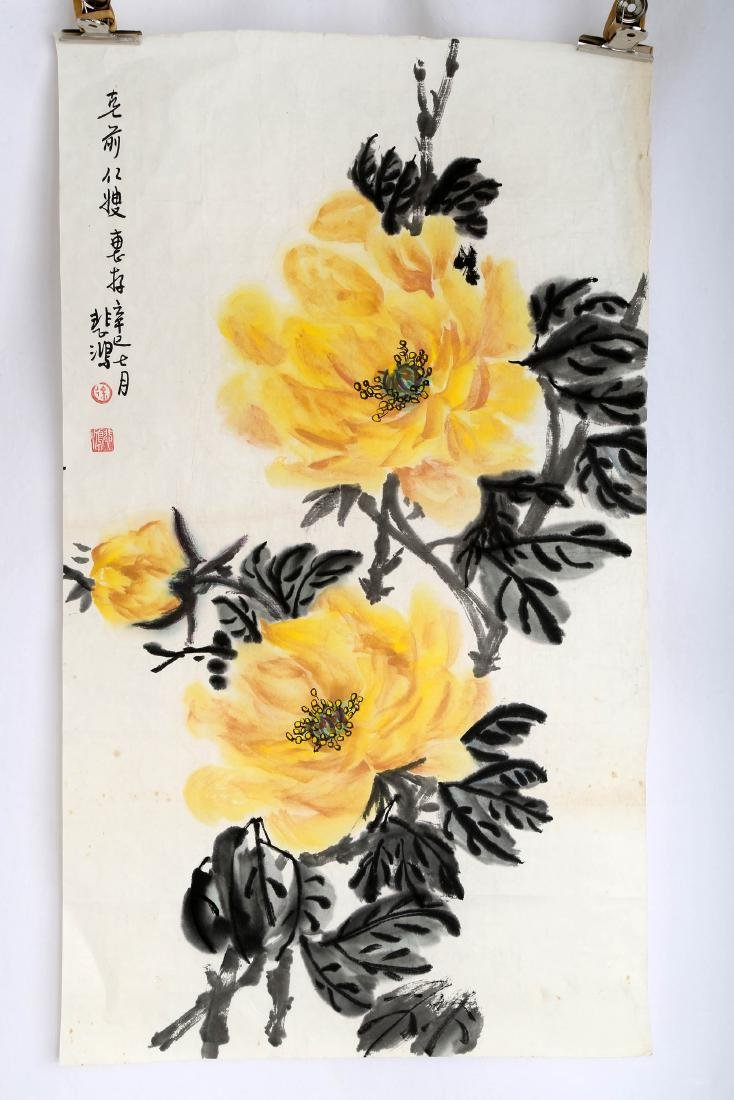 SIGNED XU PEIHONG (1895-1953). A INK AND COLOR ON PAPER