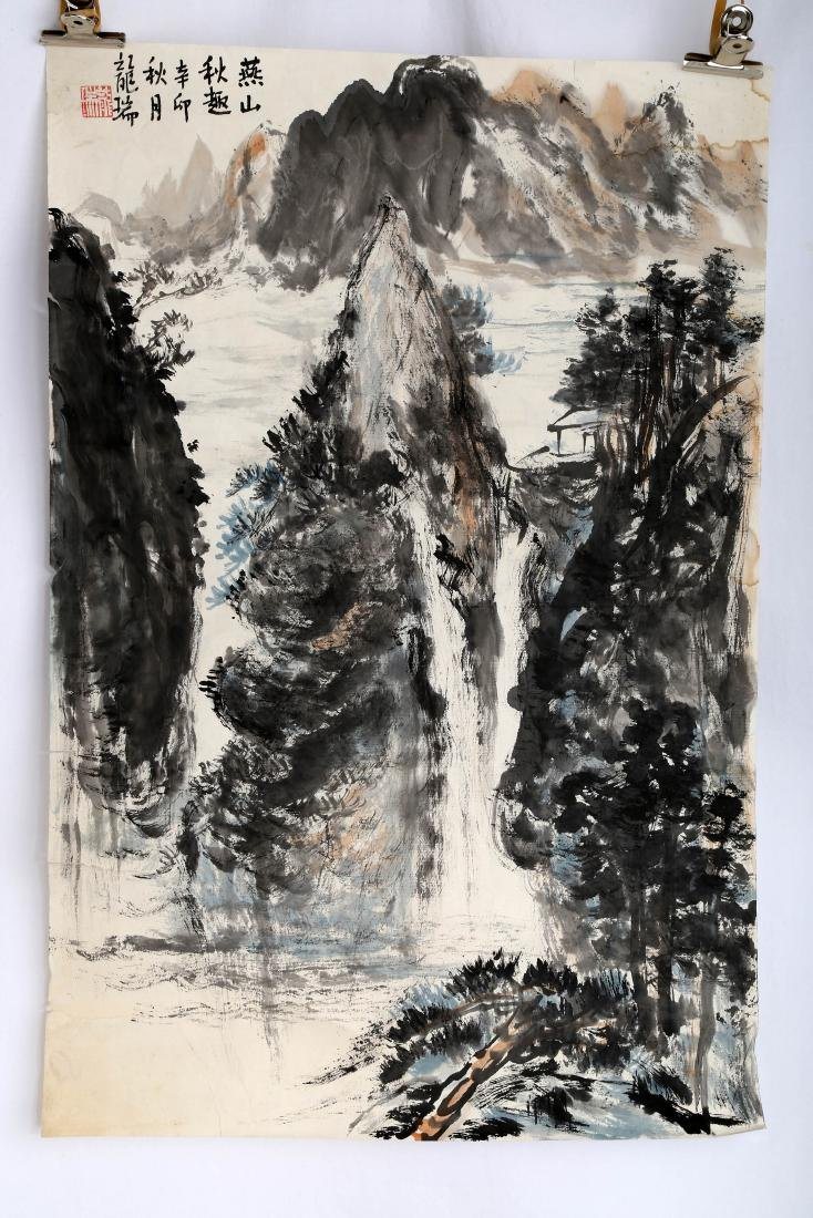 SIGNED LONG RUI (1946- ). A INK AND COLOR ON PAPER