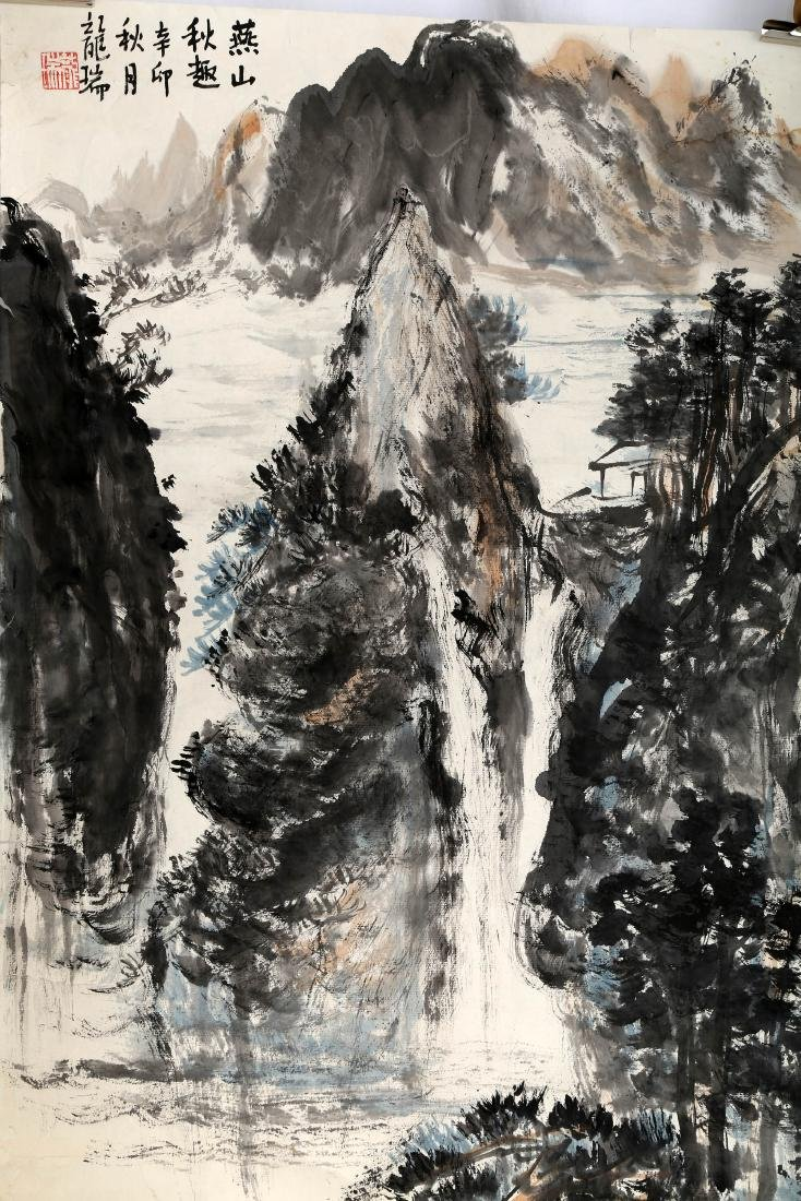 SIGNED LONG RUI (1946- ). A INK AND COLOR ON PAPER - 2
