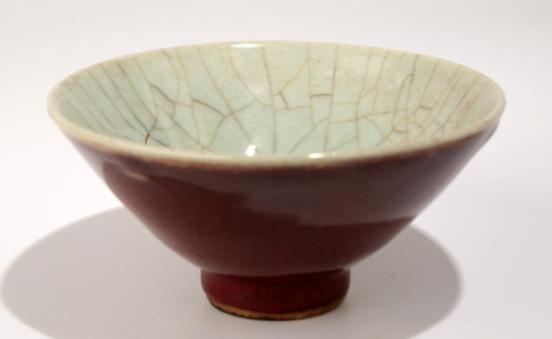 A LANGYAO RED CRACKED GLAZE INVERTED PEAR SHAPE