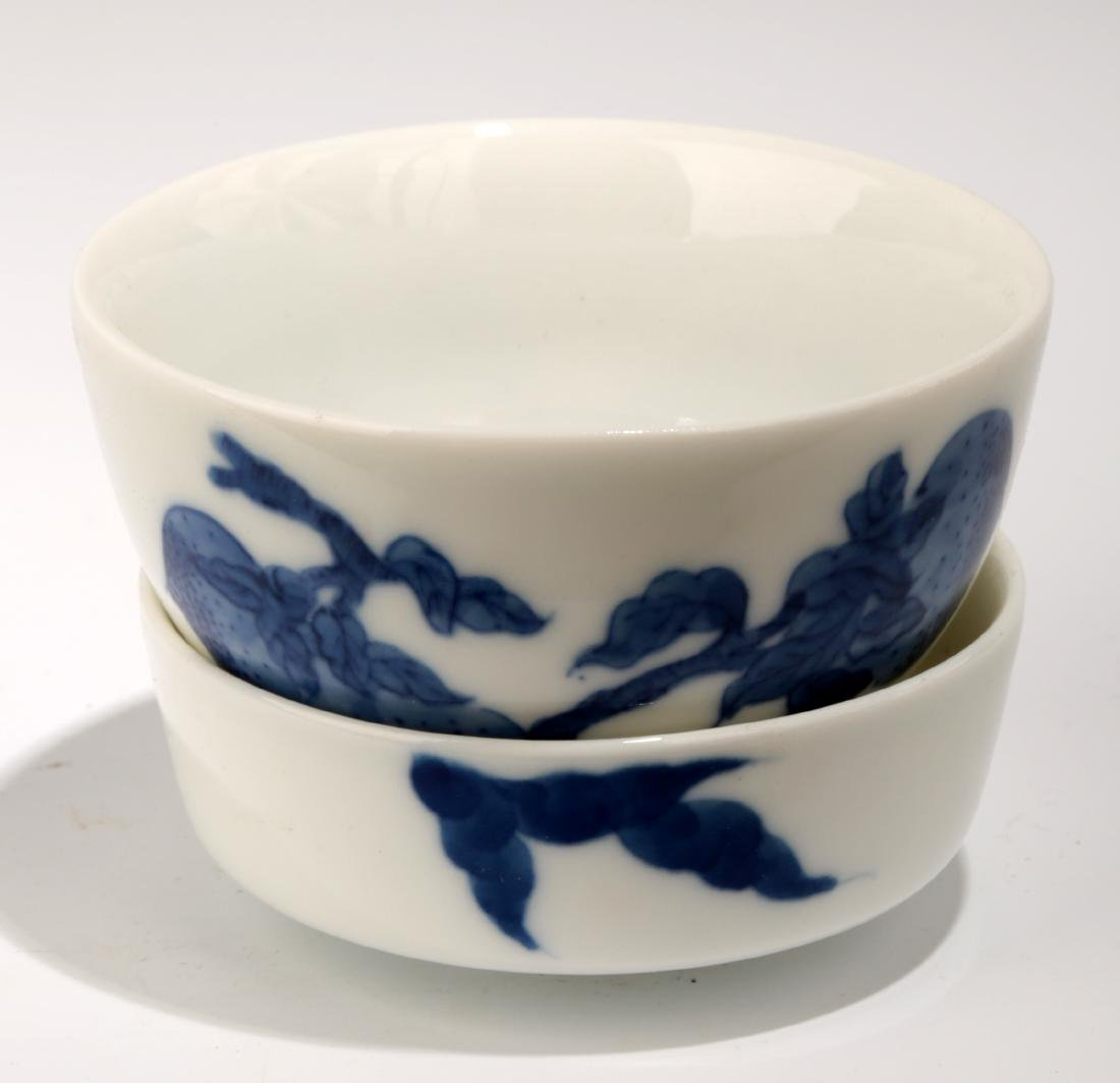 (2) A SET TWO TEA-CALIXES WITH BLUE AND WHITE.C056