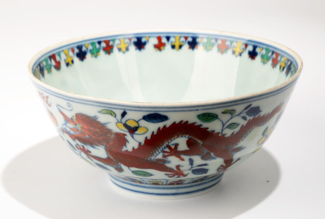 A DOUCAI BOWL WITH 'DRAGON AND PHOENIX???? DESIGN.DA