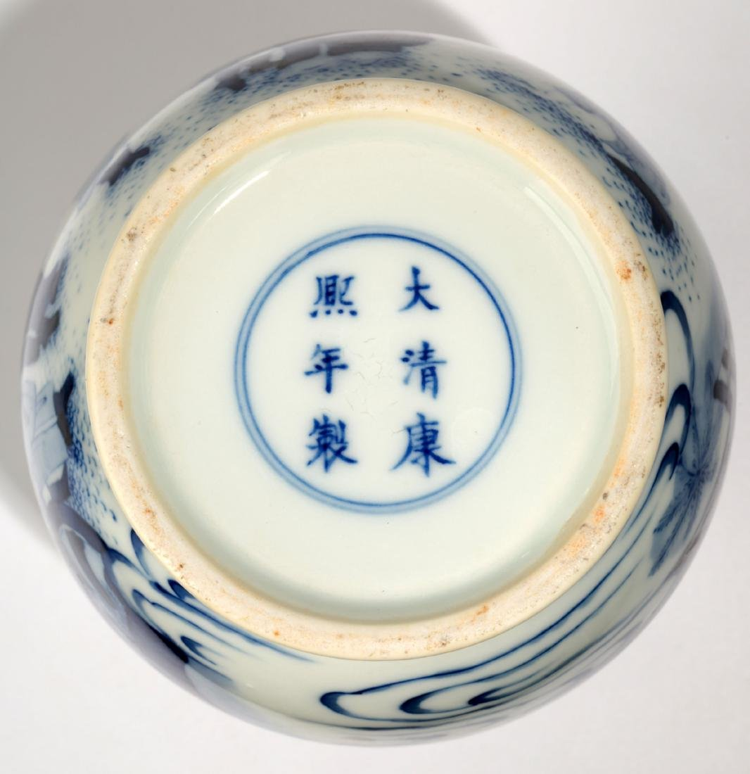 A BLUE AND WHITE DISH BUCCAL VASE.C063. - 8