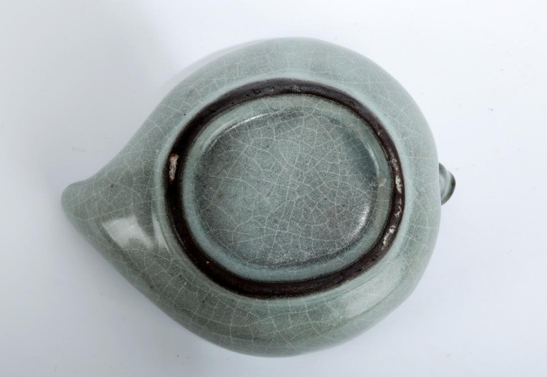 A GUAN-TYPE CELADON SKY- CYAN GLAZE PEACH-SHAPED - 4