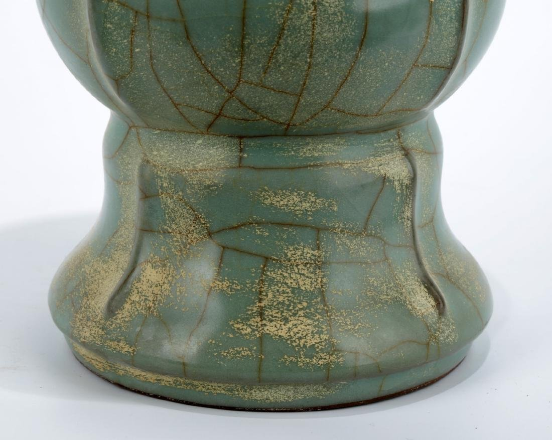 A GUAN-TYPE CELADON ZUN-FORM VASE. CARVED TWO-CHARACTER - 4