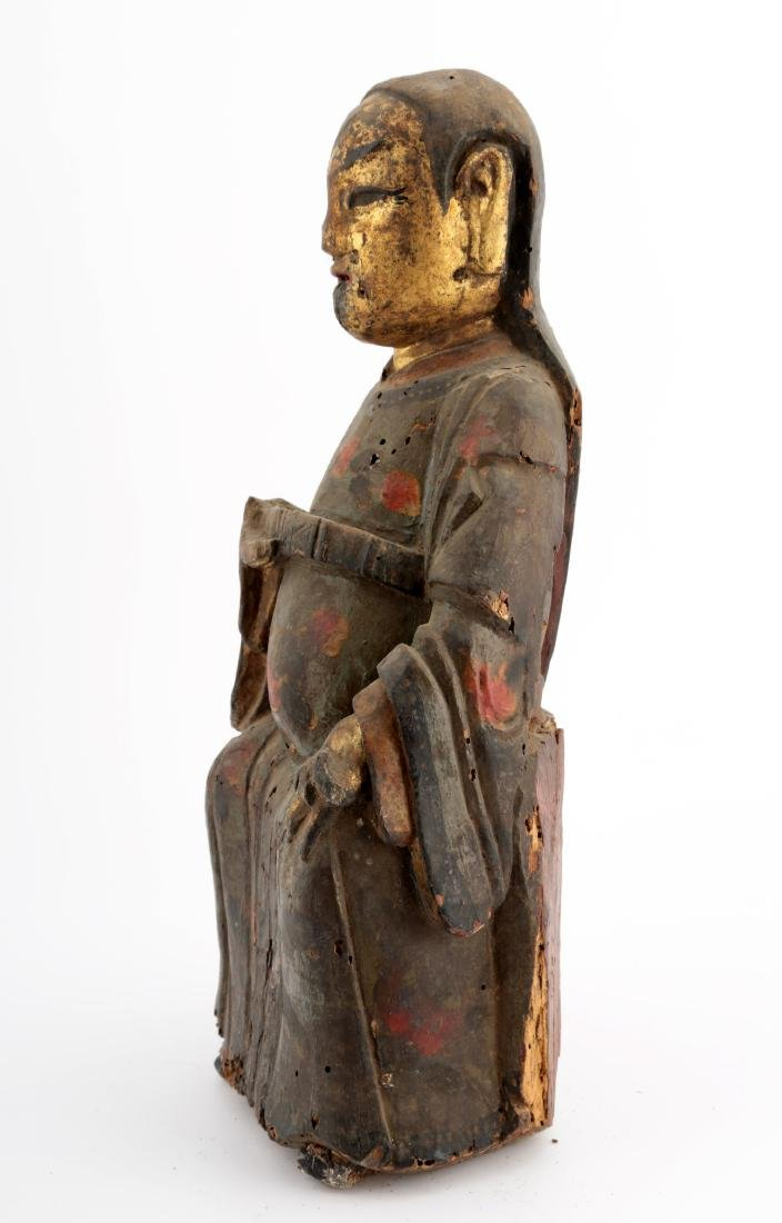 A GILT- LACQUERED WOOD FIGURE OF A DAOIST IMMORTAL - 2
