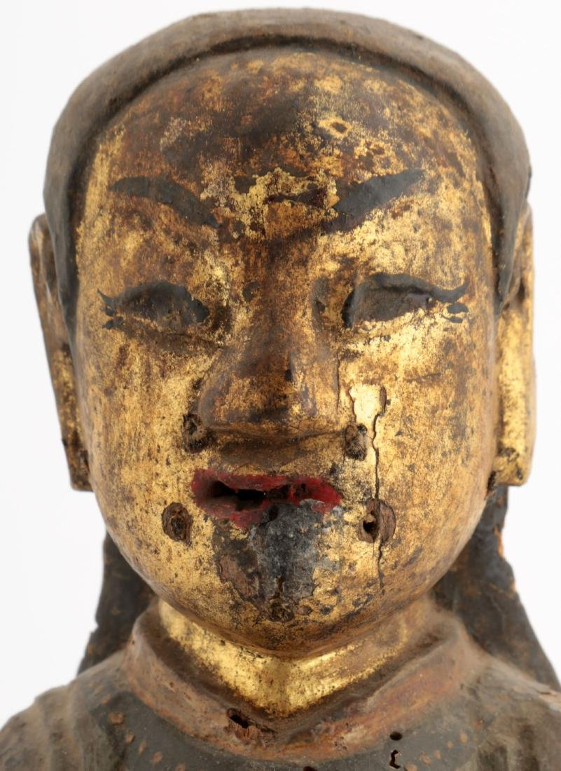 A GILT- LACQUERED WOOD FIGURE OF A DAOIST IMMORTAL - 5