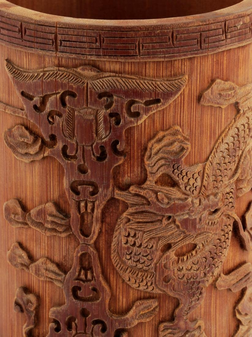 A CHINESE CARVED WITH DRAGONS BAMBOO BRUSH POT. - 4