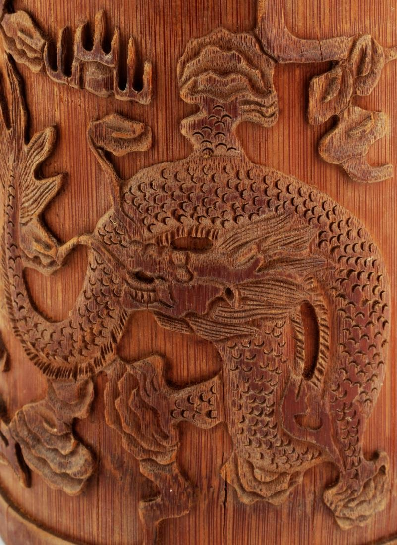 A CHINESE CARVED WITH DRAGONS BAMBOO BRUSH POT. - 5