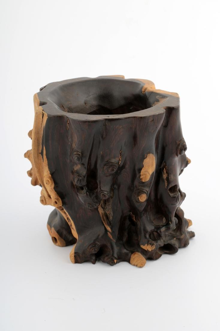 A CHINESE ROSEWOOD BRUSH POT