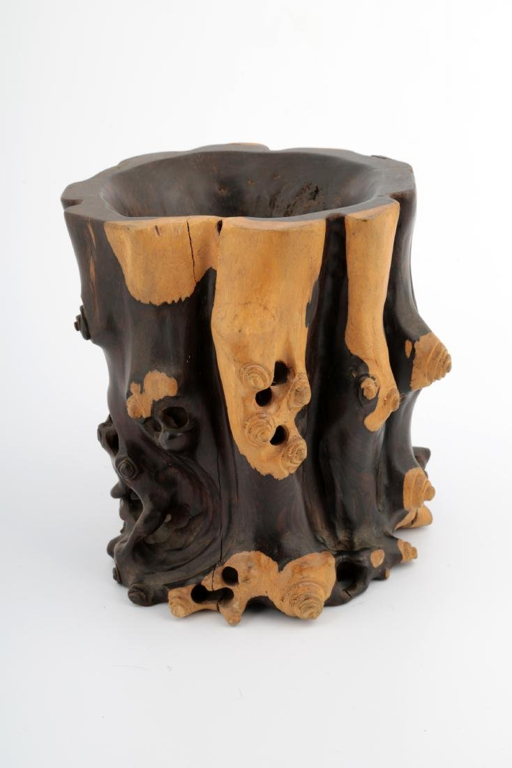 A CHINESE ROSEWOOD BRUSH POT - 2