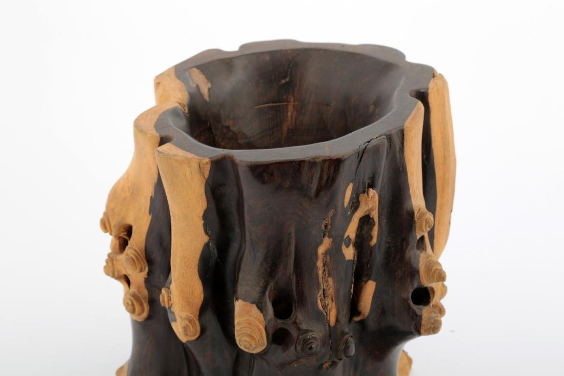A CHINESE ROSEWOOD BRUSH POT - 3