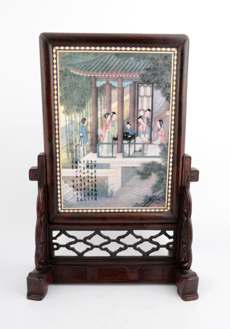 A WOOD FIGURE TABLE SCREEN - 2