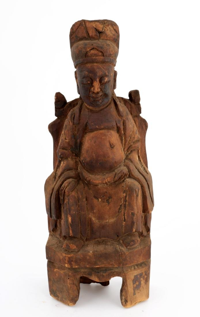 WOOD FIGURE OF A DAOIST IMMORTAL