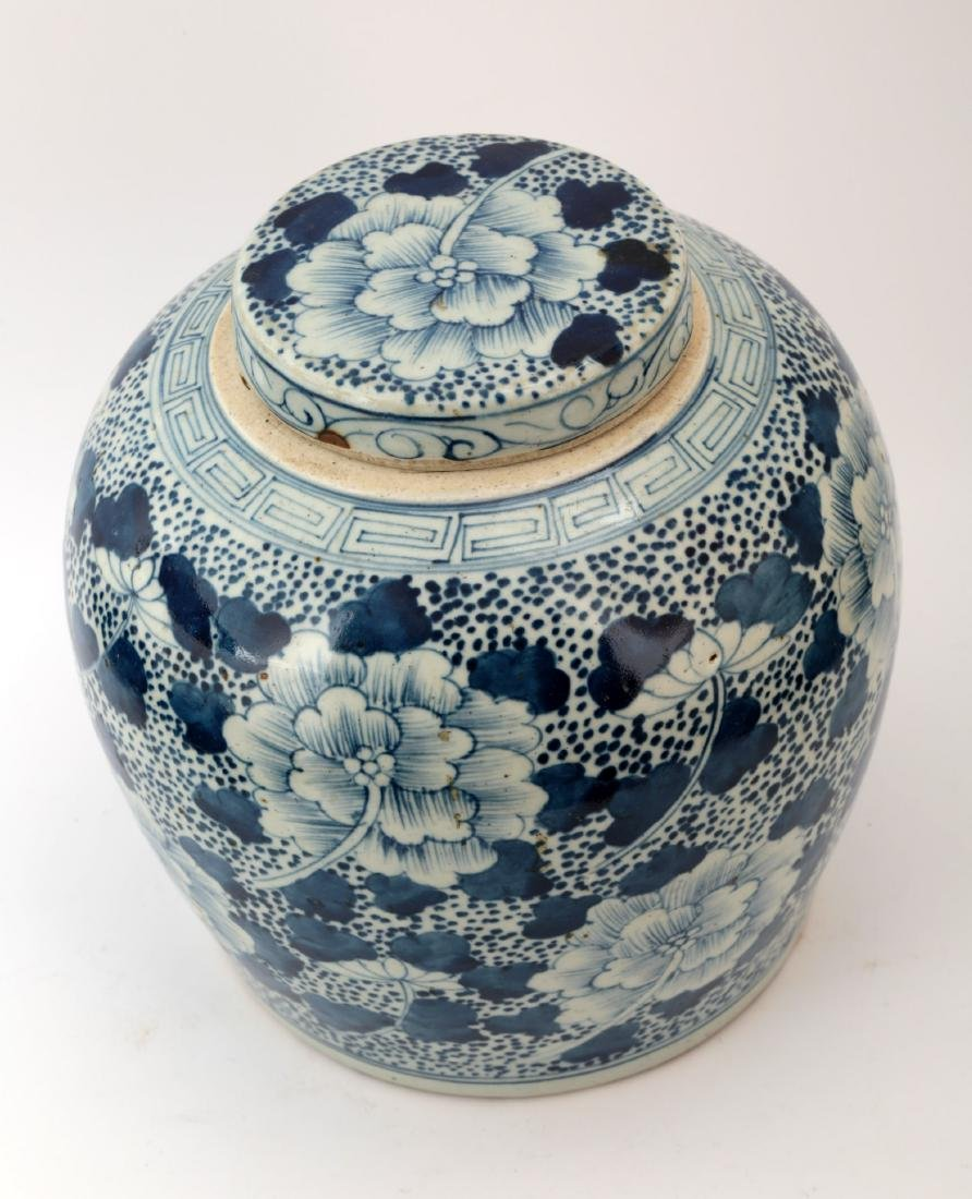 A BLUE AND WHITE PEONY JAR AND COVER - 2