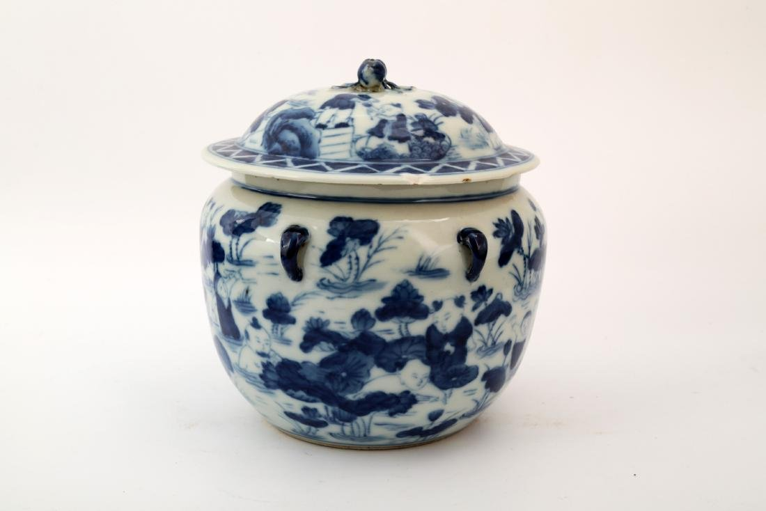 A BLUE AND WHITE CHILDREN PLAY JAR AND COVER - 2