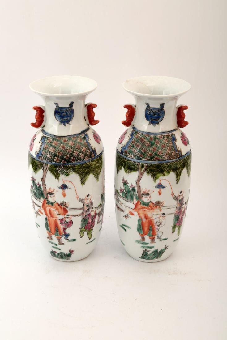 (2)   A FAMILLE ROSE CHILDREN PLAY VASE.