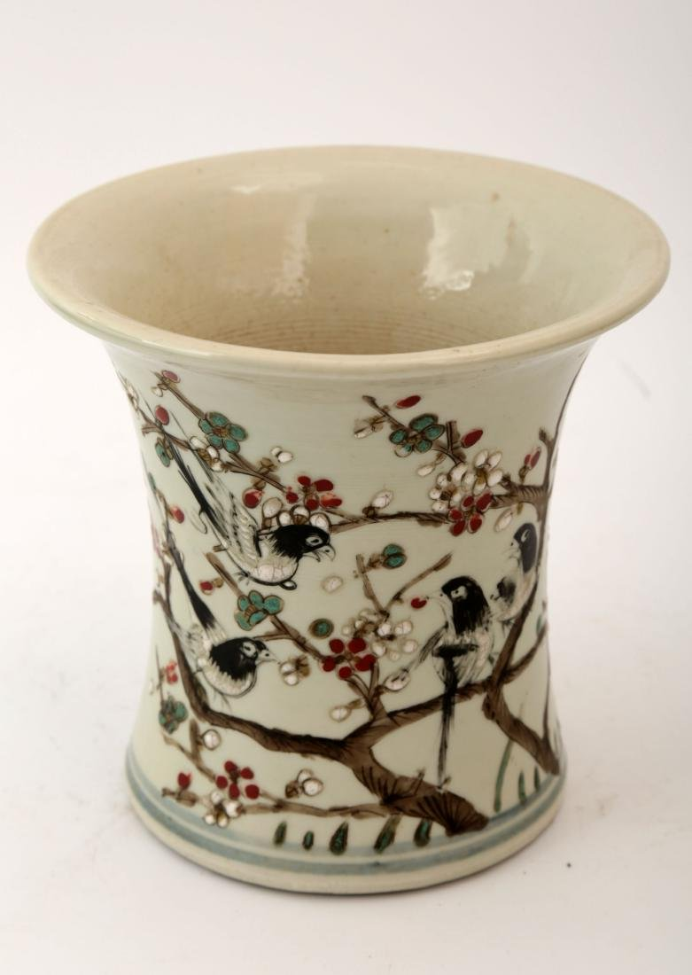 A FAMILLE ROSE BIRDS ON THE PLUM BLOSSOM BRANCH VASE,