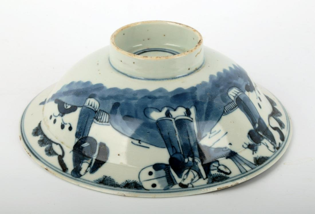 (2) A PAIR OF BLUE AND WHITE PORCELAIN STEMBOWL.C111. - 5