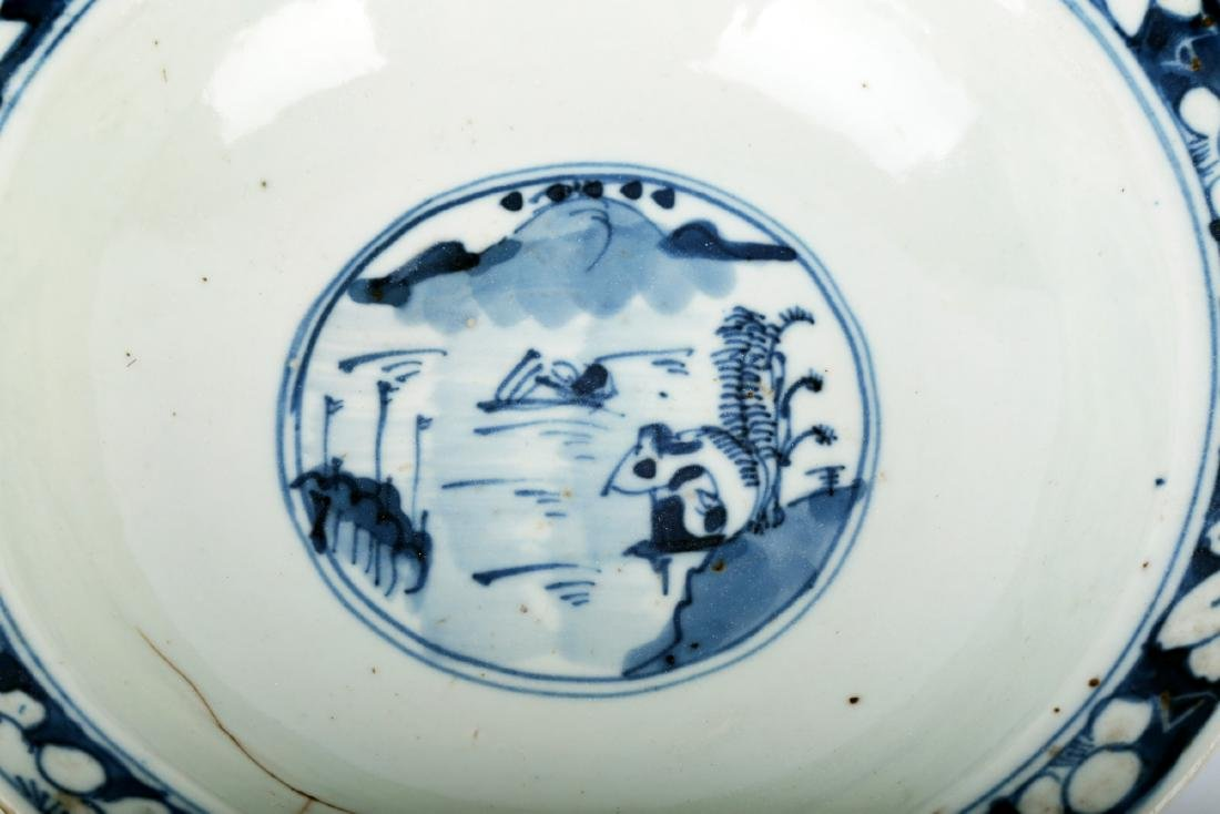 (2) A PAIR OF BLUE AND WHITE PORCELAIN STEMBOWL.C111. - 7