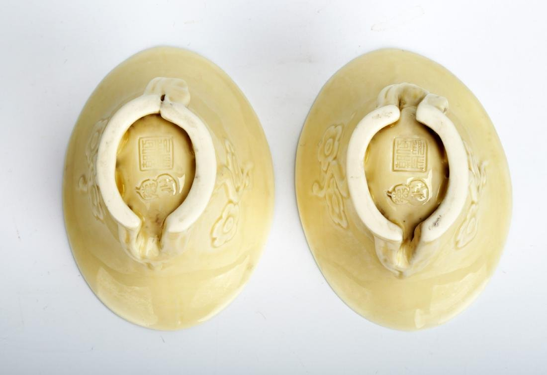 (2) A PAIR OF CARVED 'DEHUA' BLANC-DE-CHINE LIBATION - 4