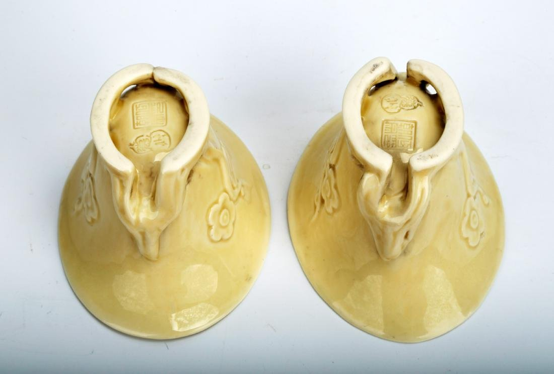 (2) A PAIR OF CARVED 'DEHUA' BLANC-DE-CHINE LIBATION - 5