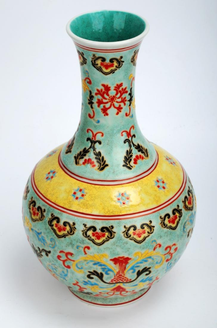 A TURQUOISE-GROUND PAINTED ENAMEL WITH COLOR GLAZED - 2