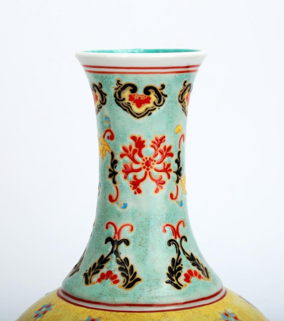 A TURQUOISE-GROUND PAINTED ENAMEL WITH COLOR GLAZED - 3