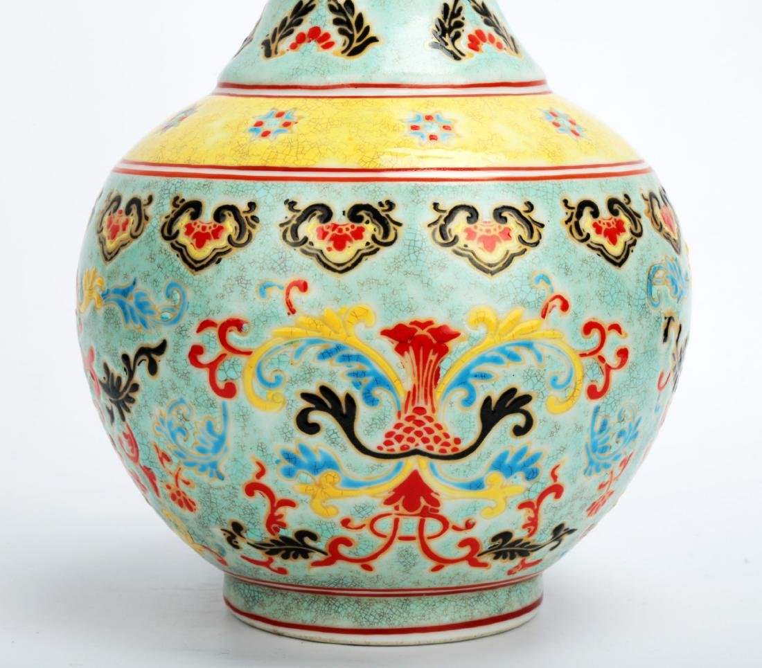 A TURQUOISE-GROUND PAINTED ENAMEL WITH COLOR GLAZED - 4
