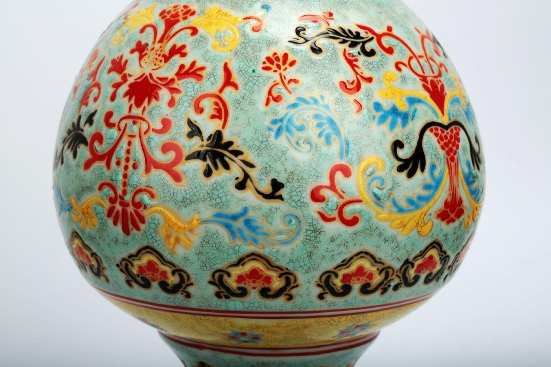 A TURQUOISE-GROUND PAINTED ENAMEL WITH COLOR GLAZED - 5