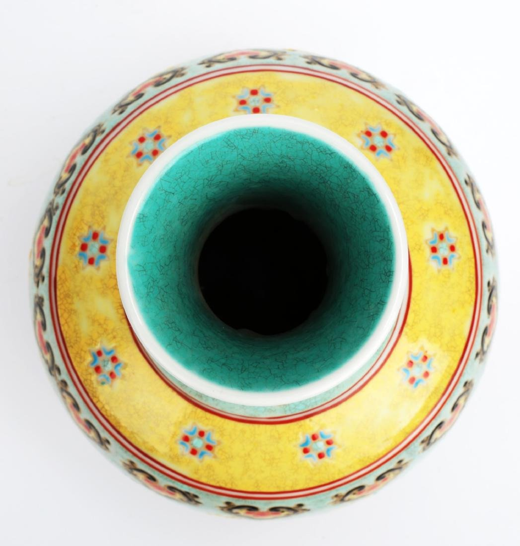 A TURQUOISE-GROUND PAINTED ENAMEL WITH COLOR GLAZED - 7