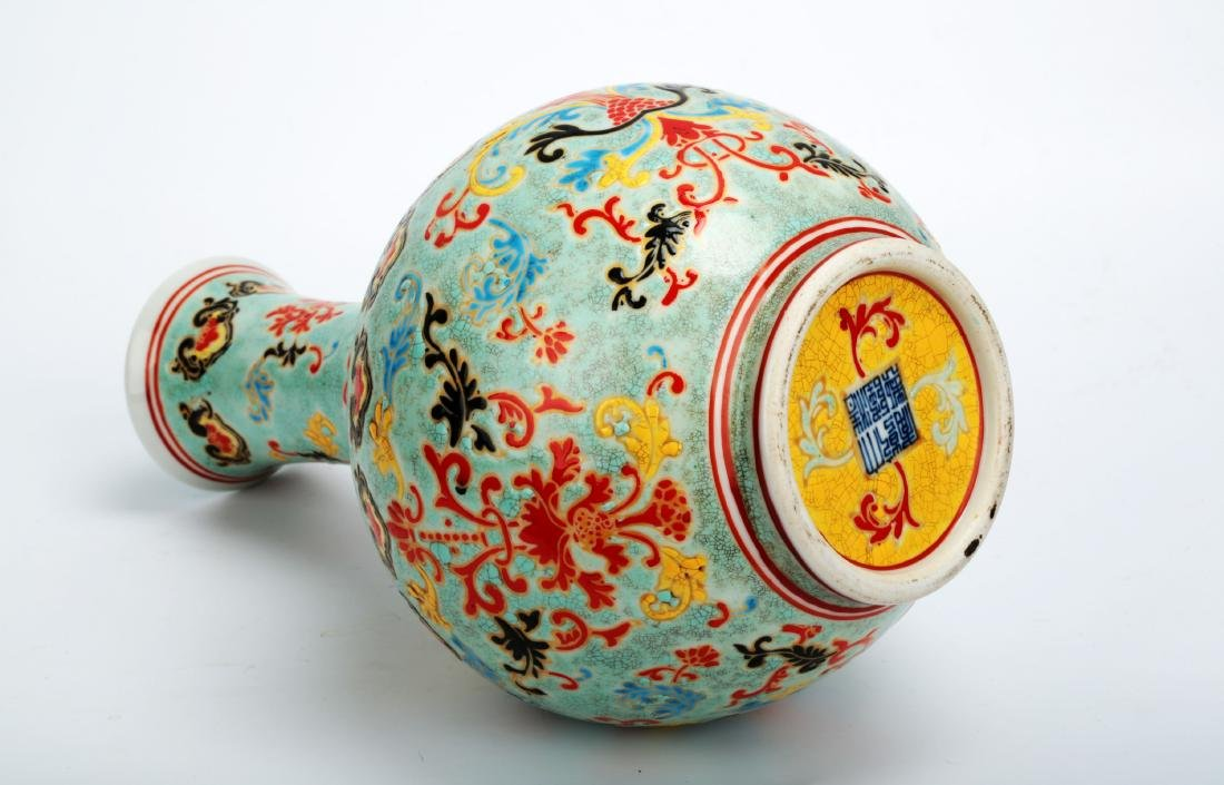 A TURQUOISE-GROUND PAINTED ENAMEL WITH COLOR GLAZED - 8