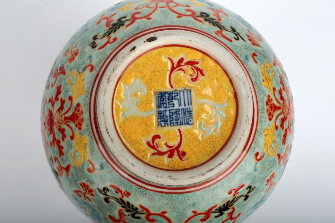 A TURQUOISE-GROUND PAINTED ENAMEL WITH COLOR GLAZED - 9