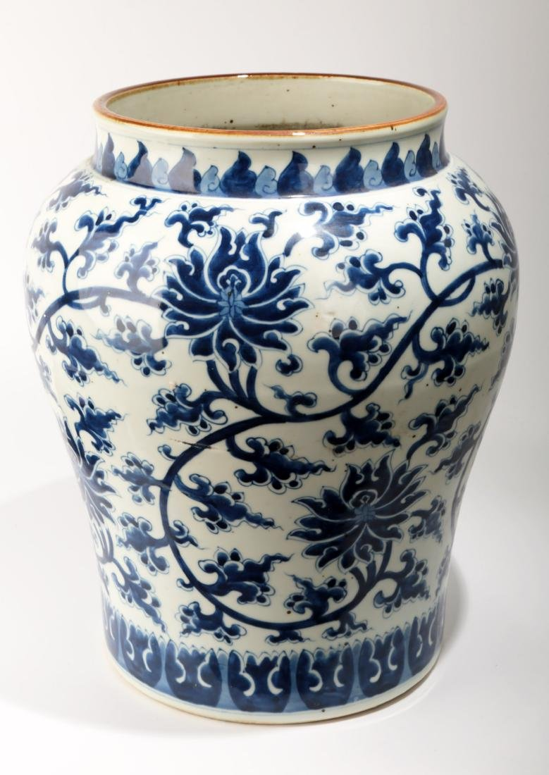 A LARGE BLUE AND WHITE INTERLOCK BRANCH LOTUS PORCELAIN