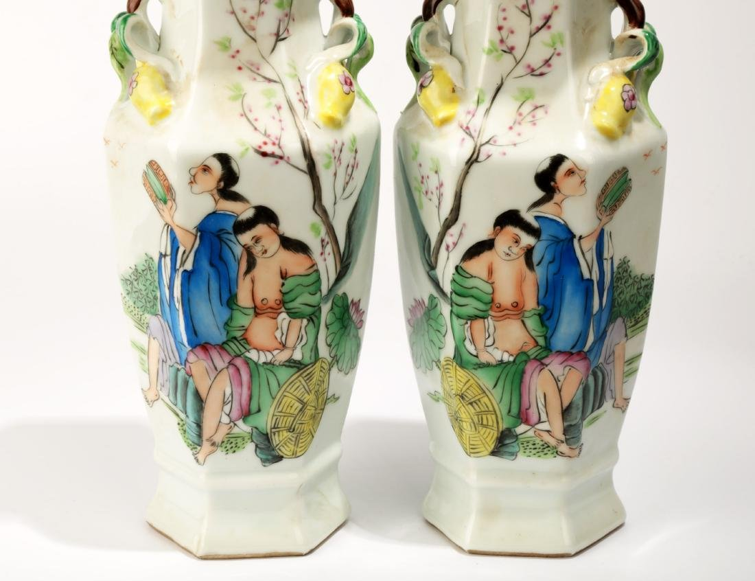 (2) A PAIR OF FAMILLE ROSE GODS OF HE-HE OCTAGONAL - 7