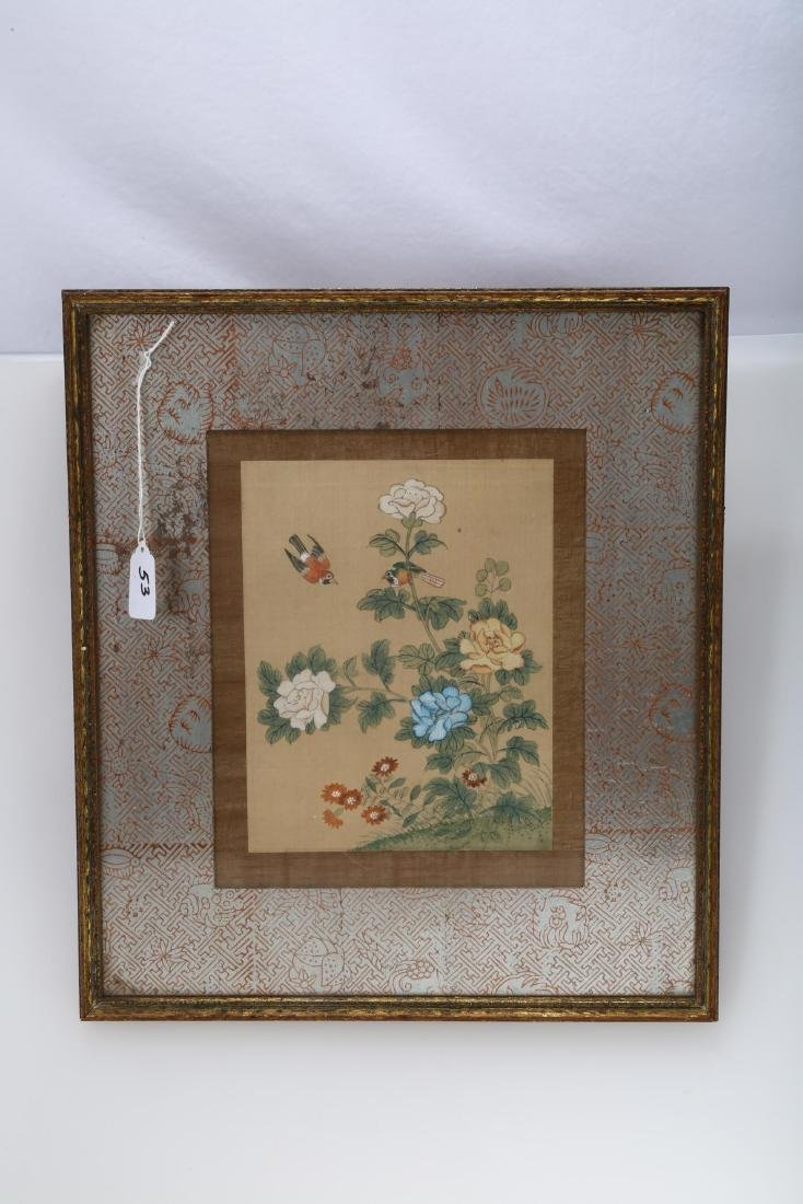 A CHINESE INK AND COLOR ON SILK HANGING FRAMED PAINTING
