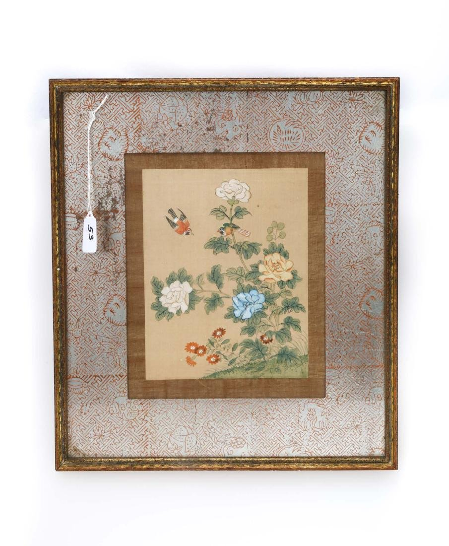 A CHINESE INK AND COLOR ON SILK HANGING FRAMED PAINTING - 2