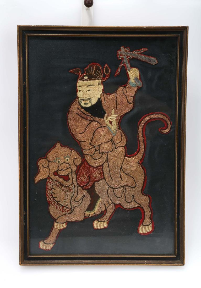 A CHINESE SILK & GOLD THREAD EMBROIDERY PANEL.H175.