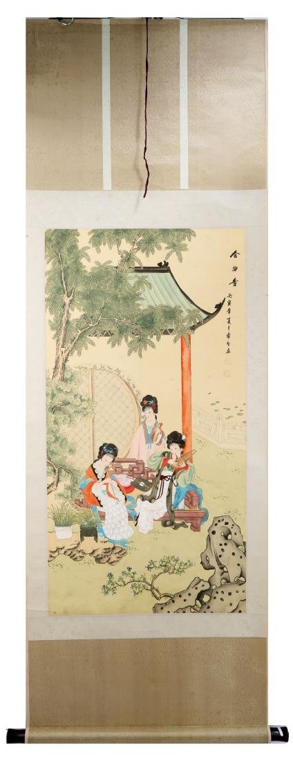 SIGNED LUO HE. A INK AND COLOR ON SILK HANGING SCROLL