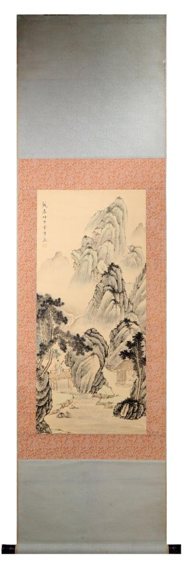 SIGNED DONG SHI. A INK AND COLOR ON PAPER HANGING