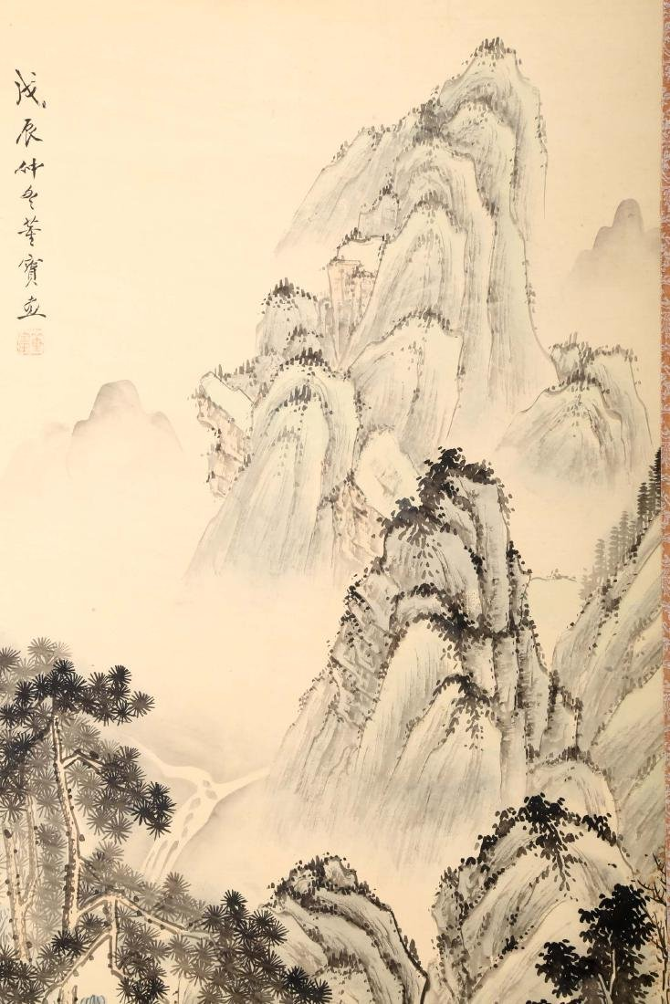 SIGNED DONG SHI. A INK AND COLOR ON PAPER HANGING - 3