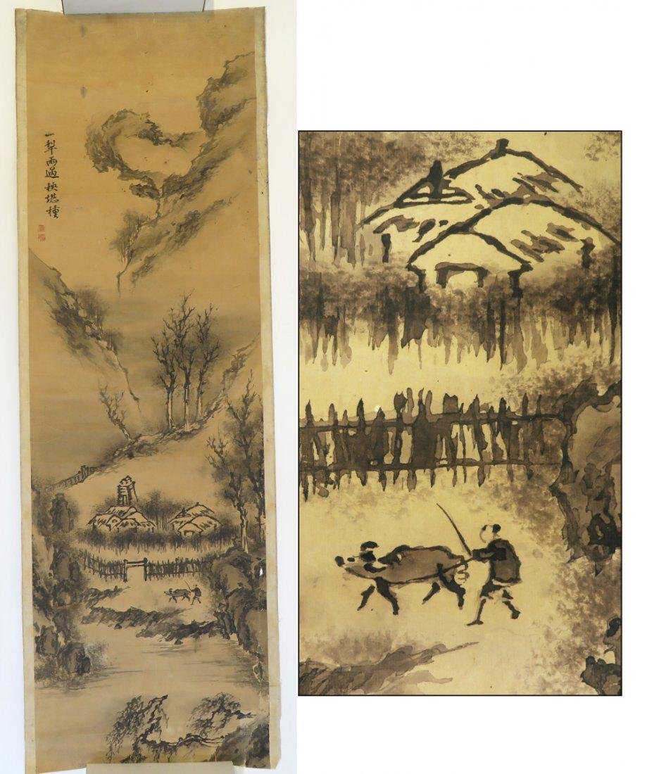 A INK AND COLOR ON PAPER HANGING SCROLL PAINTING. H197