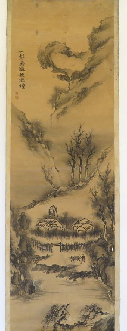 A INK AND COLOR ON PAPER HANGING SCROLL PAINTING. H197 - 2