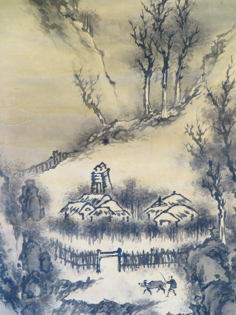 A INK AND COLOR ON PAPER HANGING SCROLL PAINTING. H197 - 5