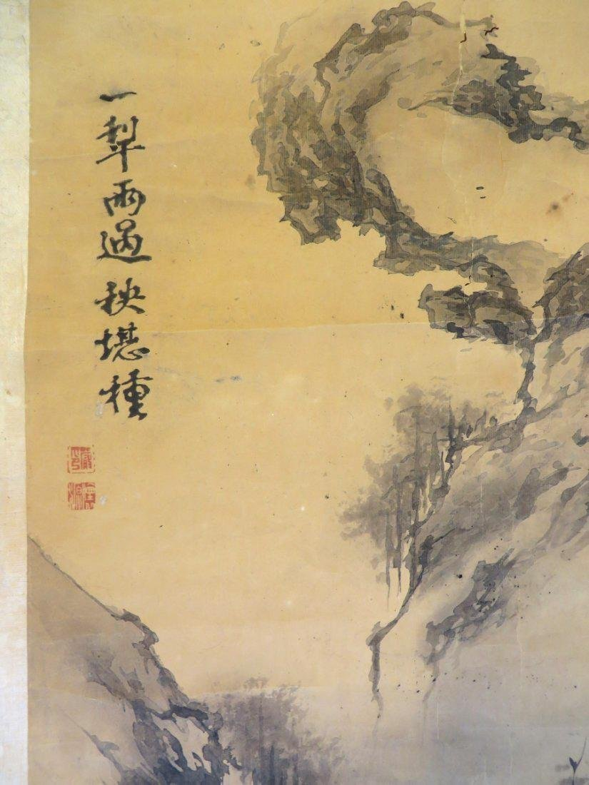 A INK AND COLOR ON PAPER HANGING SCROLL PAINTING. H197 - 6