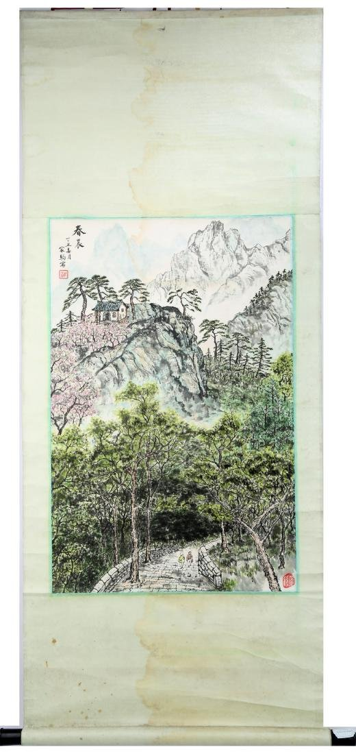 SIGNED ZHOU JIAJU. A INK AND COLOR ON PAPER HANGING