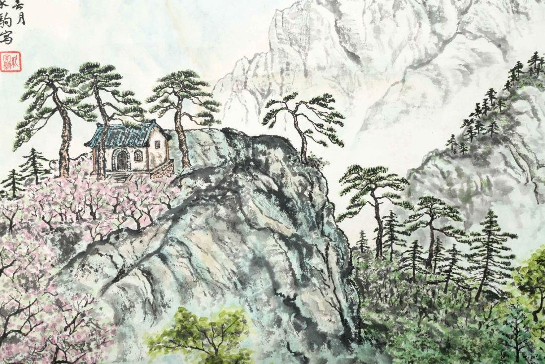SIGNED ZHOU JIAJU. A INK AND COLOR ON PAPER HANGING - 3