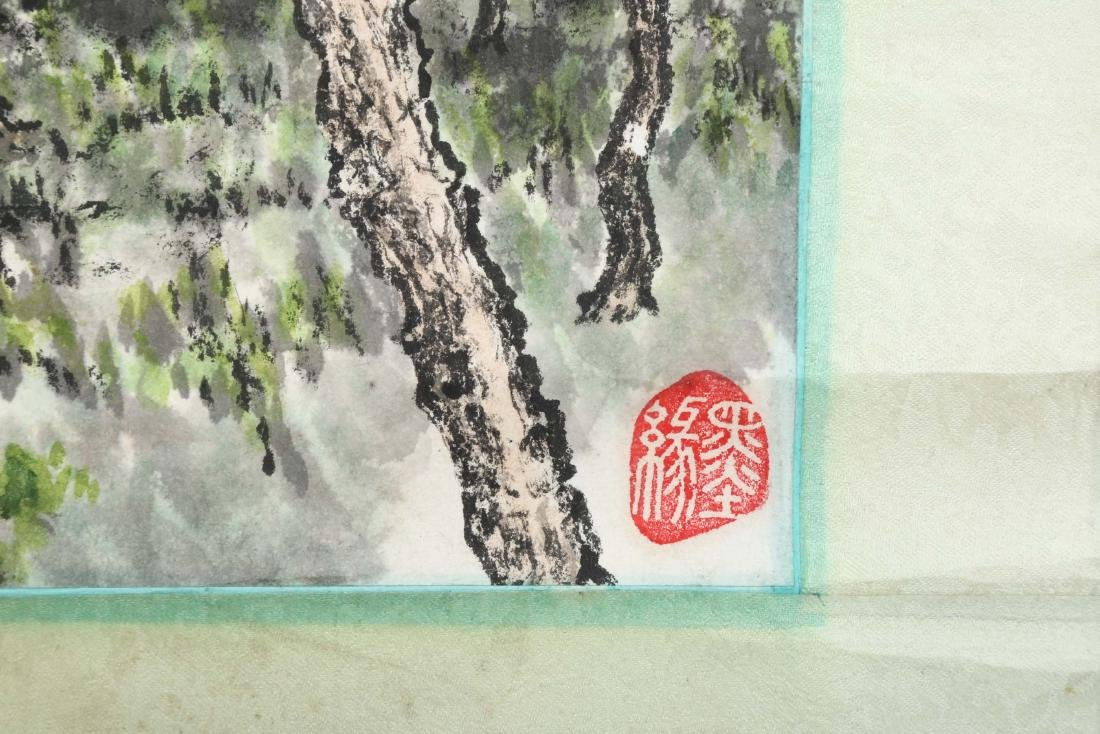 SIGNED ZHOU JIAJU. A INK AND COLOR ON PAPER HANGING - 6