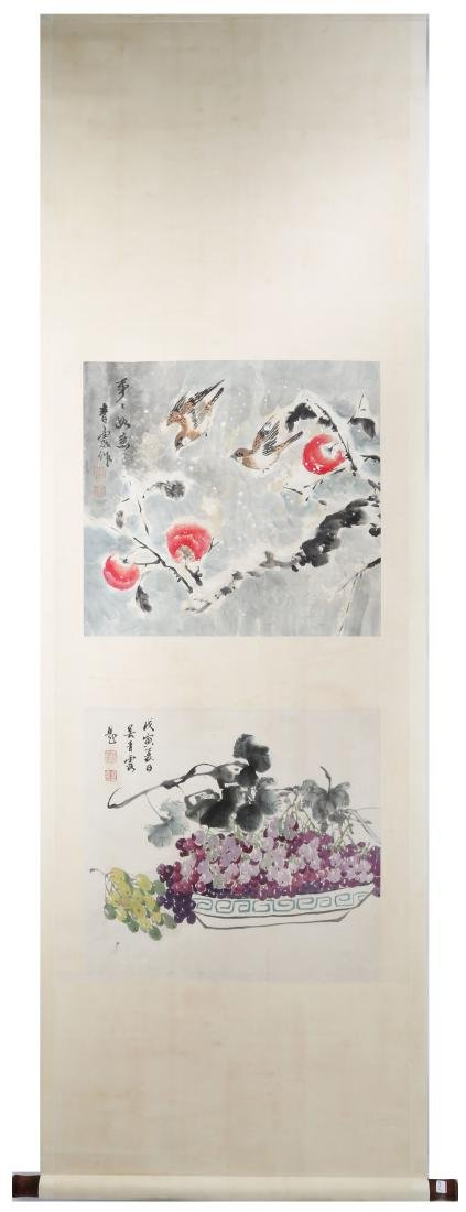 SIGNED WU QINGLU.A INK AND COLOR ON PAPER HANGING